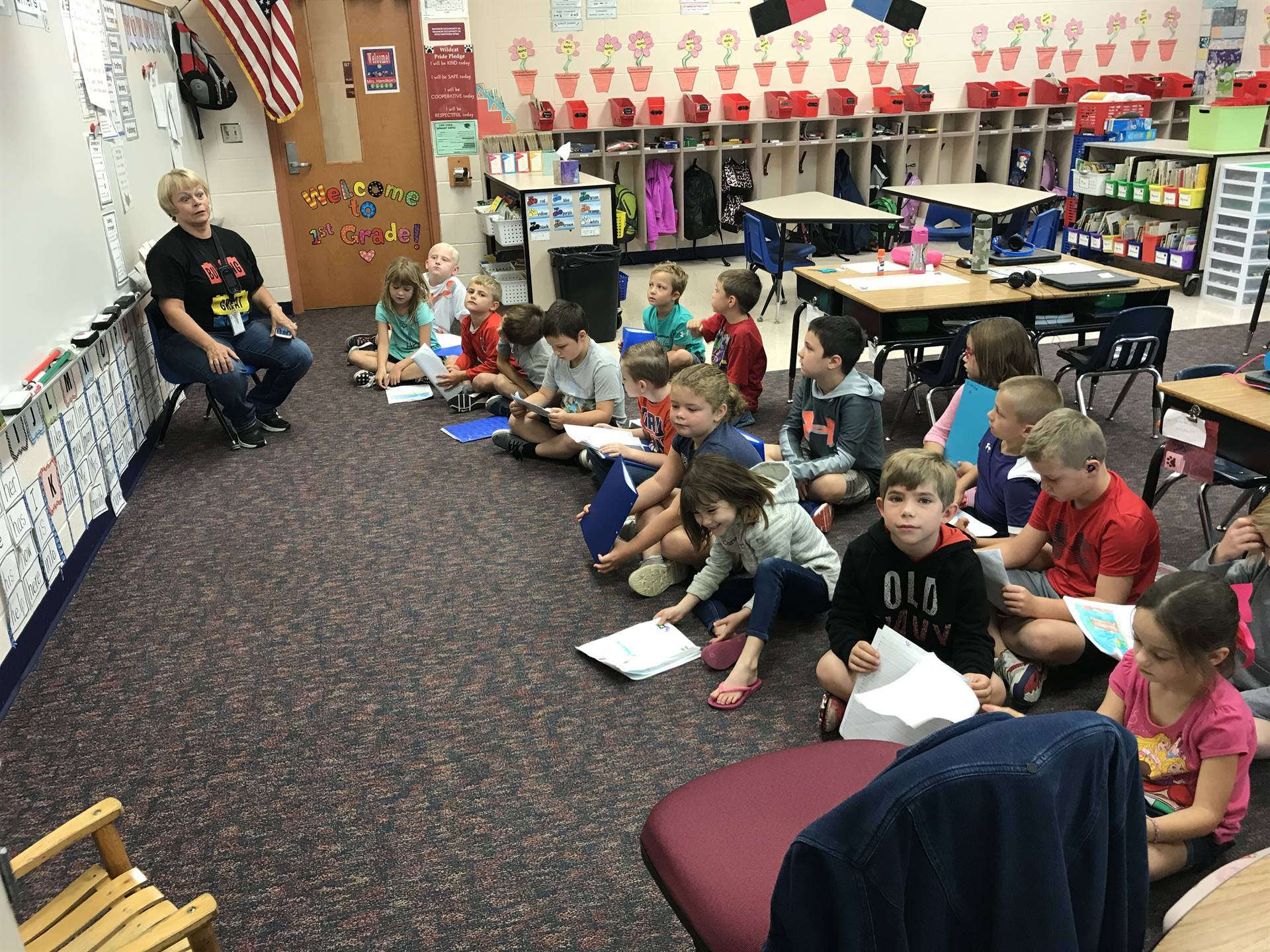 Reading stories with Mrs. Hamilton