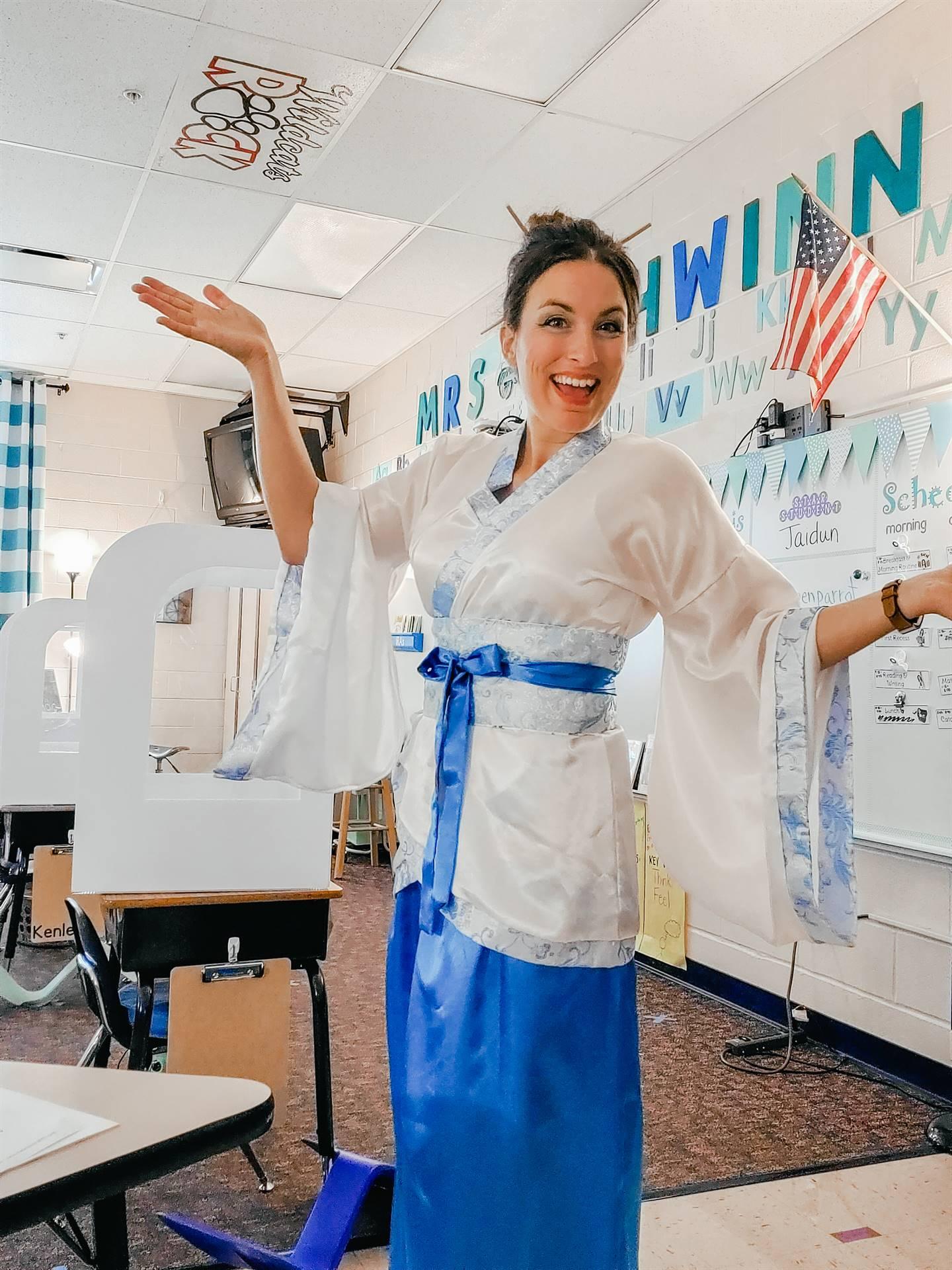 Mrs. Schwinn dressed for the activity